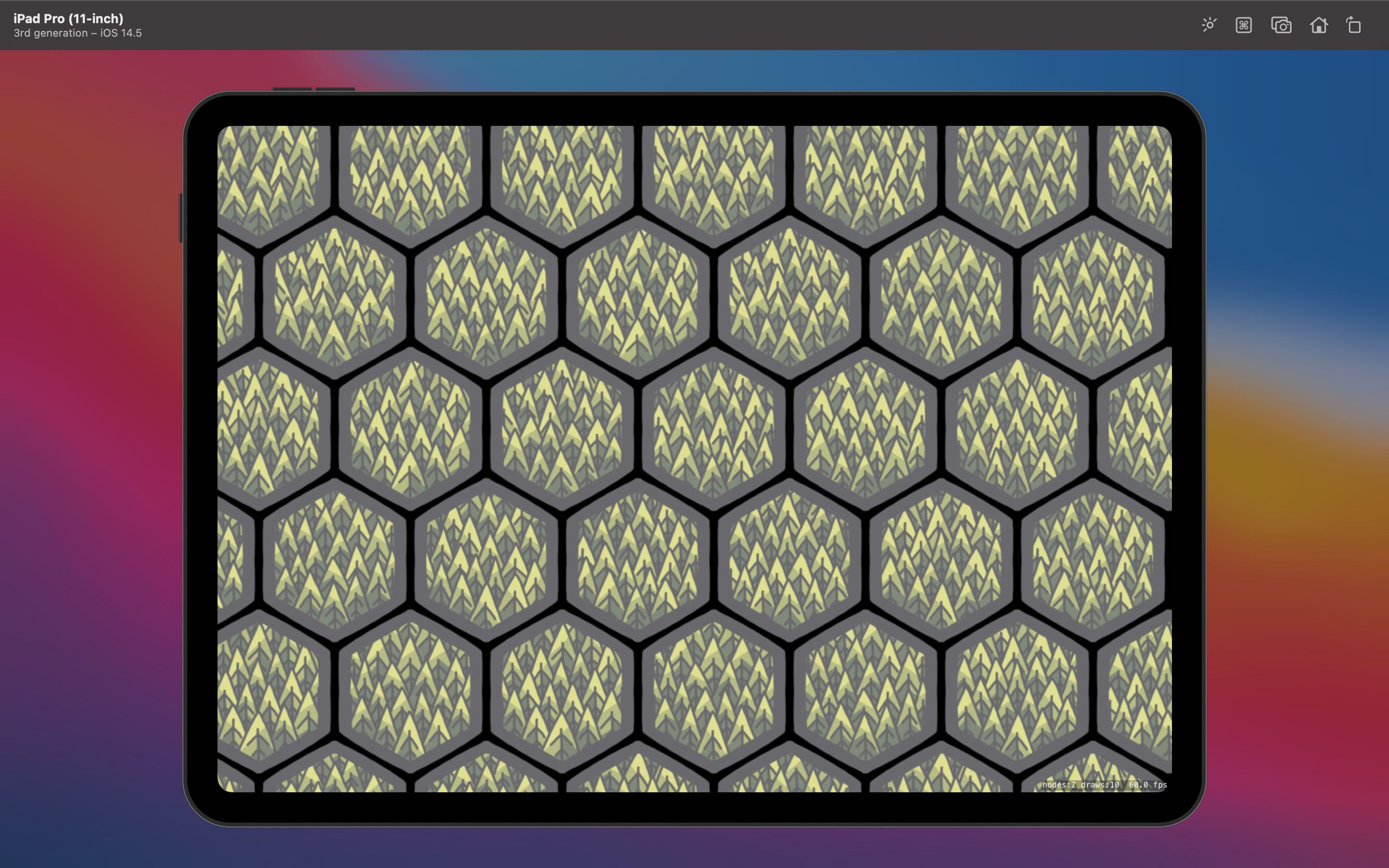 A hex grid with randomly distributed forest tiles